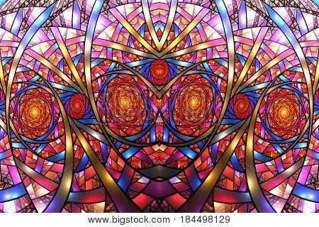 Mosaic Roses. Abstract Intricate Symmetrical Background In Red, Golden, Pink And Blue Colors. Psyche