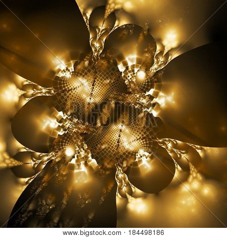 Exotic Golden Flower. Abstract Asymmetrical Floral Design. Fantasy Fractal Art. 3D Rendering.