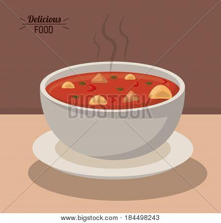 delicious food bowl soup hot nutrition vegetable vector illustration