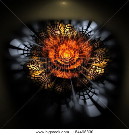 Abstract Exotic Flower With Textured Petals On Black Background. Fantasy Fractal Design In Orange, Y