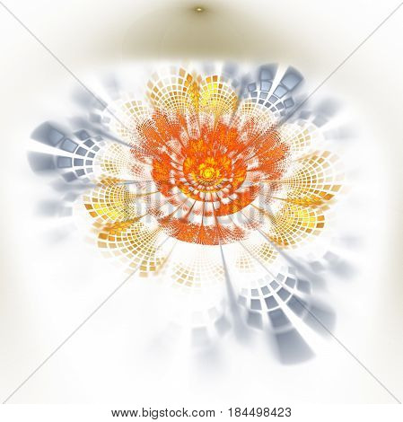 Abstract Exotic Flower With Textured Petals On White Background. Fantasy Fractal Design In Orange, Y