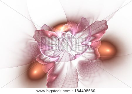 Abstract Exotic Flower With Textured Petals On White Background. Fantasy Fractal Design In Orange An