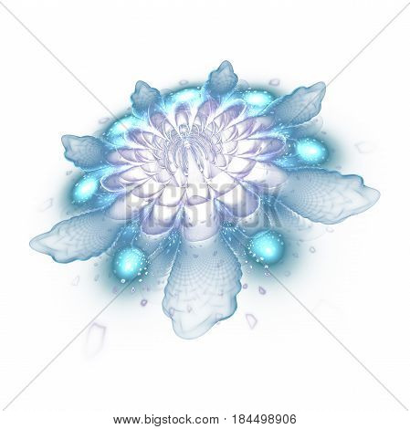 Abstract Exotic Flower With Textured Petals On White Background. Fantasy Fractal Design In Pale Blue