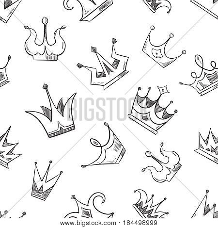 Sketch doodle crowns seamless pattern. Sketch of crown pattern, illustration of princess cartoon crown