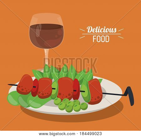 delicious food skewer with meat vegetables dish vector illustration