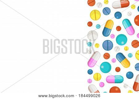 Vector background with pharmaceutical elements. Pills and drugs. Template card banner with color cure, illustration of medical pharmaceutical banner