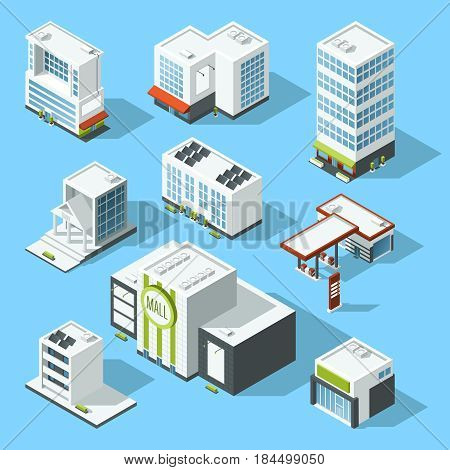 Vector isometric illustrations of hypermarket, bank and other service and municipal buildings. Isometric architecture hypermarket and bank, architecture element buildings