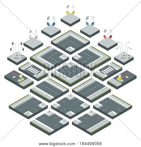 Isometric city roads, different signs on the highway. Stop or warning sign and traffic lightParts of highway and speedway road, illustration of transportation traffic isometric road
