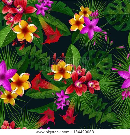 Exotic summer tropical flowers. Vector seamless pattern. Vintage illustration. Botanical tropical pattern with plants and colored flowers, natural colored bloom flower exotic garden