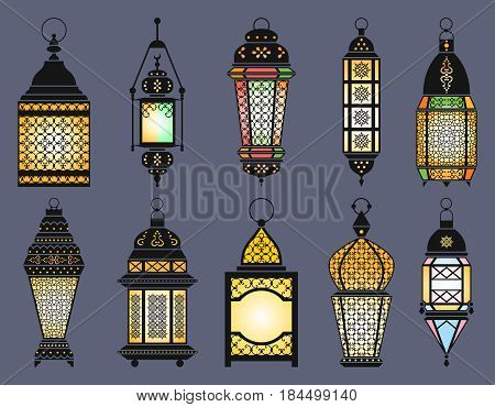 Ramadan old lanterns and lamps of arabic style. Vector illustration. Set of lantern to ramadan, light lantern for celebration
