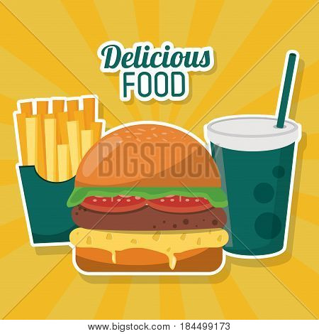 delicious food fast burger french fries soda straw vector illustration