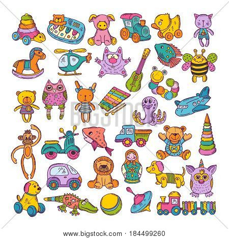 Color icons of children toys. Hand drawn vector illustrations. Doodle set. Colored artwork monkey and dog toys, plane and cat toys for kids