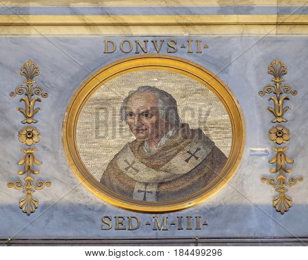 ROME, ITALY - SEPTEMBER 05: Pope Donus II, non-existent pope who was at one time shown in the official lists of popes in the basilica of Saint Paul Outside the Walls, Rome, on September 05, 2016.