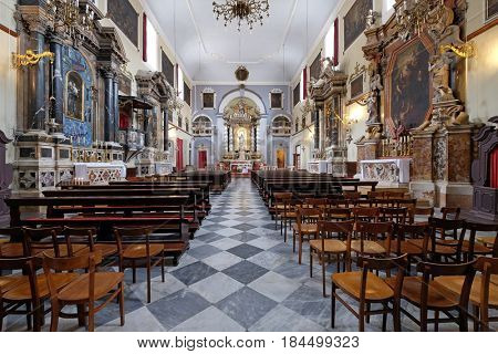 DUBROVNIK, CROATIA - NOVEMBER 08: Franciscan church of the Friars Minor in Dubrovnik, Croatia on November 08, 2016.