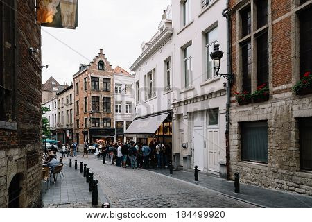 Brussels Belgium - July 30 2016: Commercial street with restaurants in Brussels