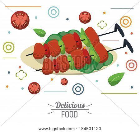 delicious food skewers grilled meat vegetables nutrition vector illustration