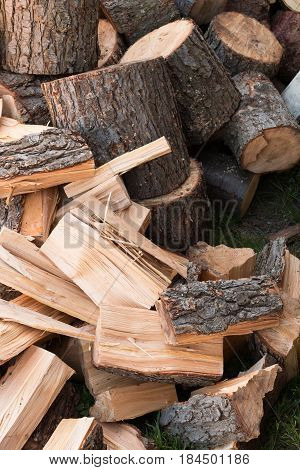 Both chopped and split wood, from logs to kindling.