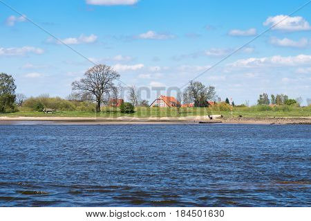 Farm house on the Elbe behind the Dike in Lower Saxony