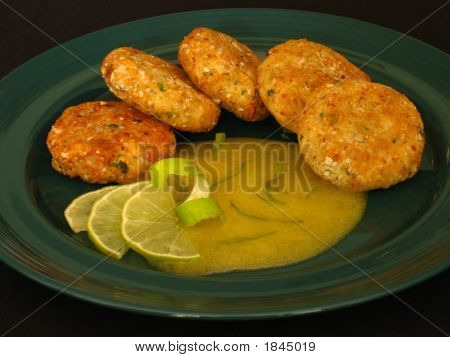 Potato And Squash Patties With Mango Sauce