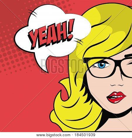 blonde girl glasses bubble speech pop art comic style vector illustration