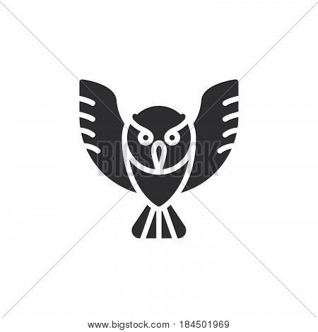Owl icon vector filled flat sign solid pictogram isolated on white. Wisdom symbol logo illustration. Pixel perfect