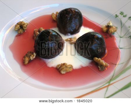Orange Syrup On Roasted Figs Dessert