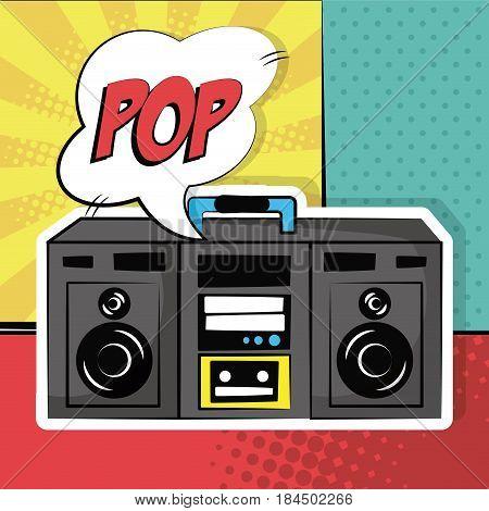 stereo radio sound bubble speech pop art vintage vector illustration