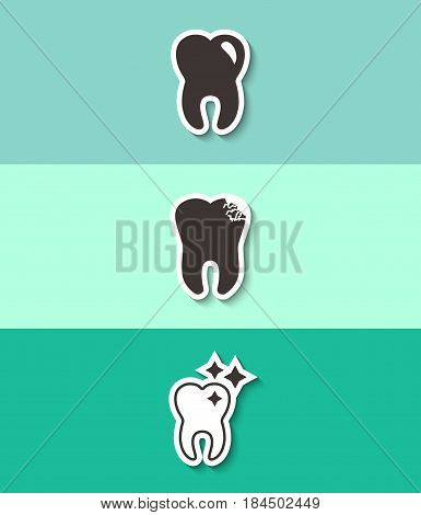 Three teeth vector flat icon. Dental sign. Clean tooth and dental caries symbol.