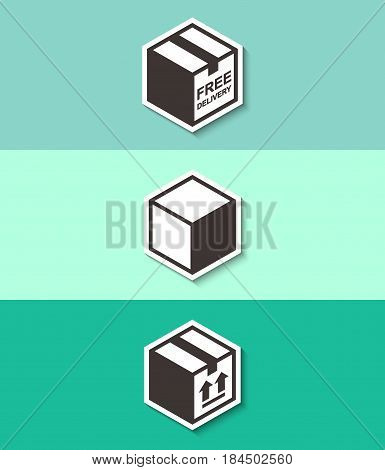Free delivery sign on package box. Three flat design icons with shadow.