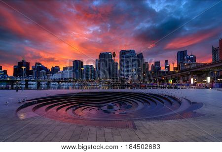 SYDNEY AUSTRALIA - April 22 2017: Sunrise of Darling Harbour adjacent to the city center of Sydney and also a recreational place in Sydney central business district