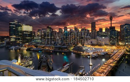 SYDNEY AUSTRALIA - April 25 2017 : Sunrise of Darling Harbour adjacent to the city center of Sydney and also a recreational place in Sydney central business district