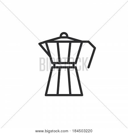 Moka pot macchinetta line icon outline vector sign linear style pictogram isolated on white. Symbol logo illustration. Editable stroke. Pixel perfect