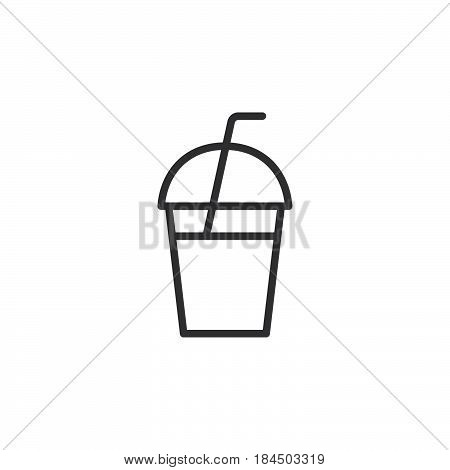 Milkshake takeaway cup line icon outline vector sign linear style pictogram isolated on white. Symbol logo illustration. Editable stroke. Pixel perfect