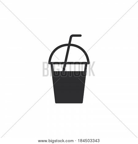 Milkshake takeaway cup icon vector filled flat sign solid pictogram isolated on white. Symbol logo illustration. Pixel perfect
