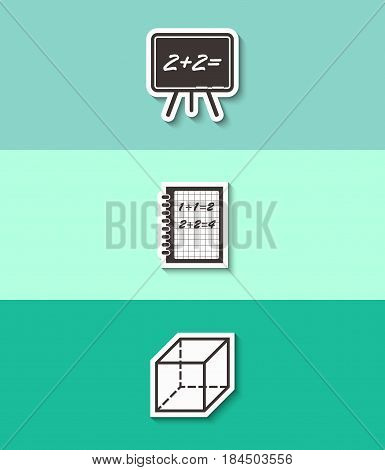 Blackboard, exercise book and geometric cube vector icon. Mathematics sign. Three flat design icons.