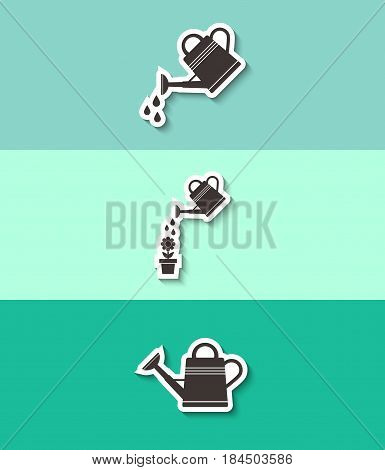 Watering can vector icon. Three flat design icons.