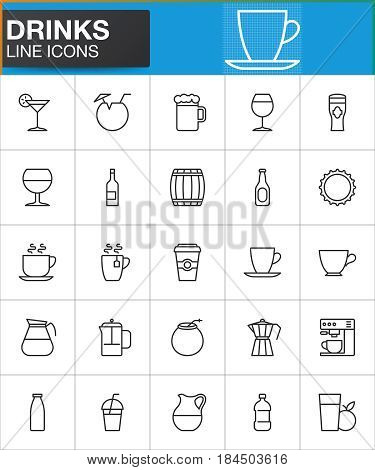 Drinks line icons set outline vector symbol collection linear style pictogram pack. Signs logo illustration. Set includes icons as wineglass coffee tea cup milk cocktail beer mug fruit juice