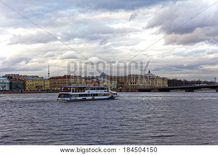 SAINT-PETERSBURG, RUSSIA - 30 APRIL2017: Tourist river boat on the Neva River in St Petersburg