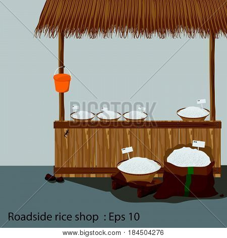 Roadside rice shop ,  countryside, Vector illustration