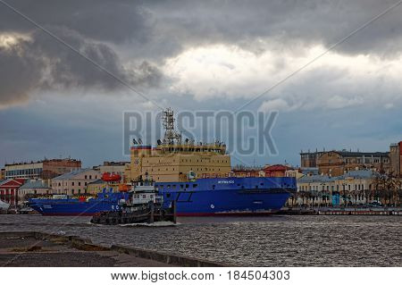 SAINT-PETERSBURG, RUSSIA - 30 APRIL2017: Icebreakers festival in St. Petersburg, Russia. Icebreaker MURMANSK