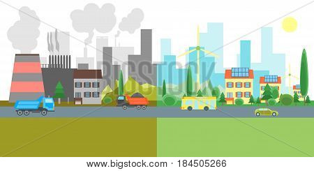 Cartoon City Landscape Geen Eco Energy and Pollution Factories. Flat Style Design Ecological Concept. Vector illustration