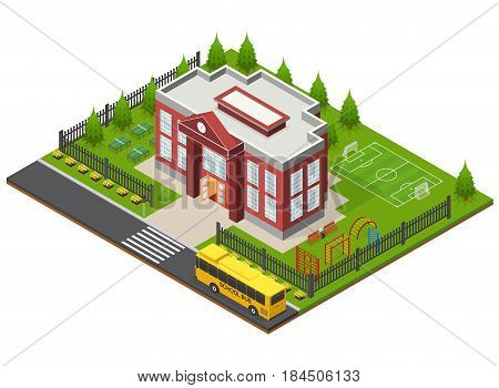 Shcool Building Isometric View Urban Education Architecture Modern Exterior Facade for Web. Vector illustration