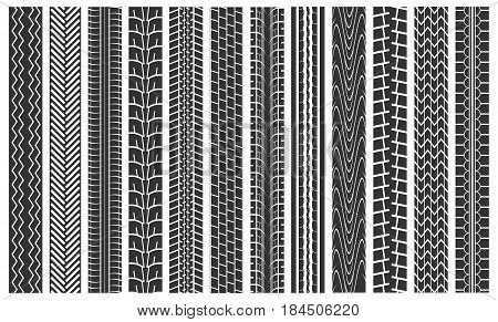 Black Tire Tracks Seamless Pattern Background Detail Imprint Rubber Wheel Car on Road. Vector illustration