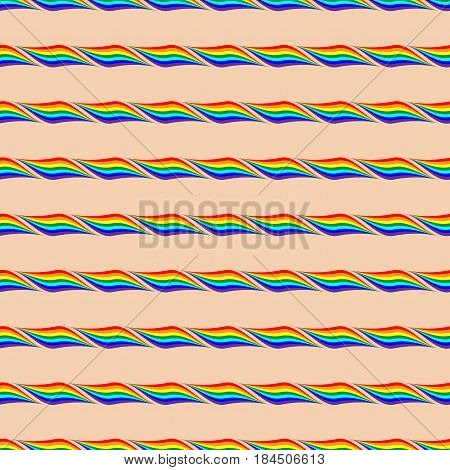 Rainbow geometric seamless pattern. Fashion graphic background design. Modern stylish abstract texture. Colorful template for prints textiles wrapping wallpaper. Stock VECTOR illustration