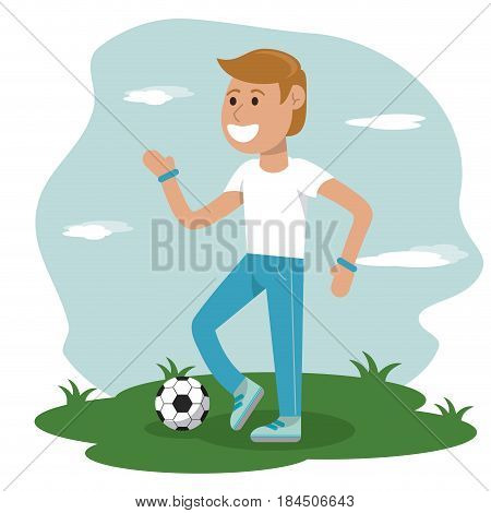 physical education - boy playing soccer sport school vector illustration