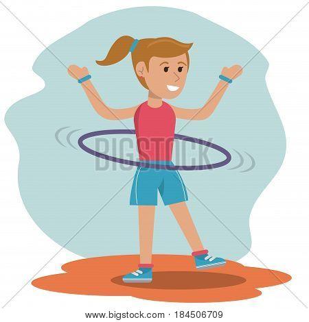 character girl doing hula hoops play vector illustration