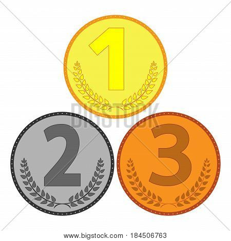Medal set sign. Symbol of achievement. Gold silver bronze round medallion isolated on white background. Achievement flat mark. Concept of award. Modern art scoreboard. Stock vector illustration