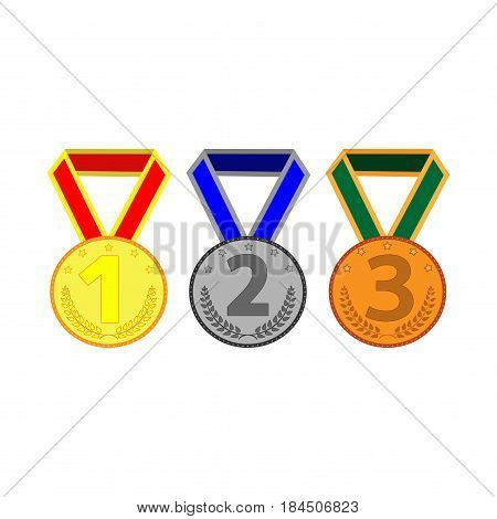 Medal set sign. Symbol of prize. Color round medallions with ribbon isolated on white background. Achievement flat mark. Concept of award. Stock vector illustration