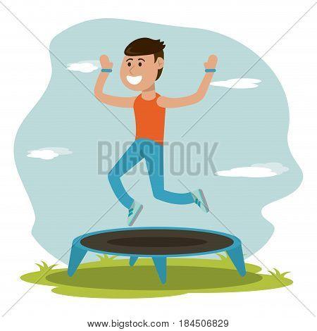 physical education - boy jumping trampoline sport vector illustration