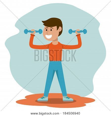 physical education - boy weight lifting physical education vector illustration